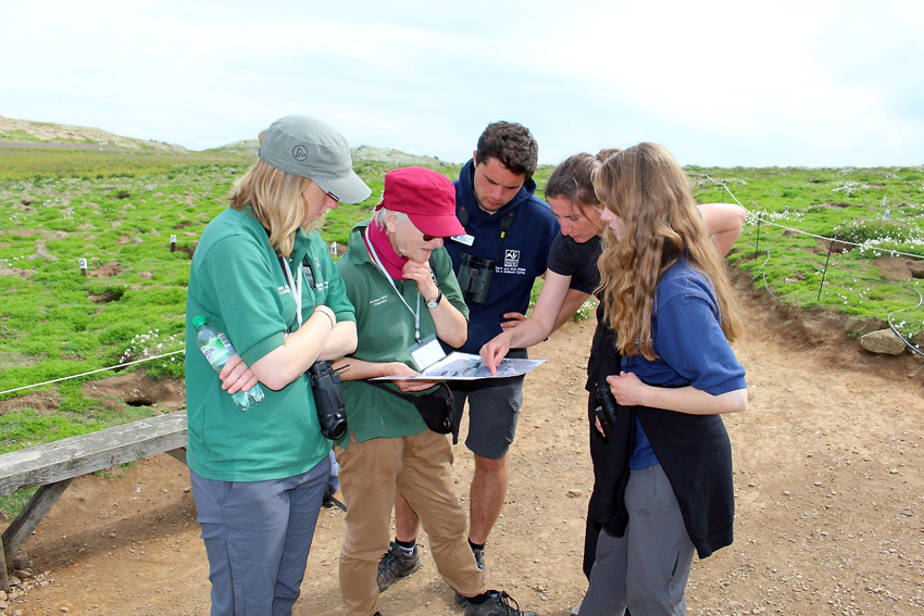 Louise Barker (pointing) working with the Skomer Visitor Officer and volunteers from the Wildlife Trust for South and West Wales on a recent visit to Skomer Island