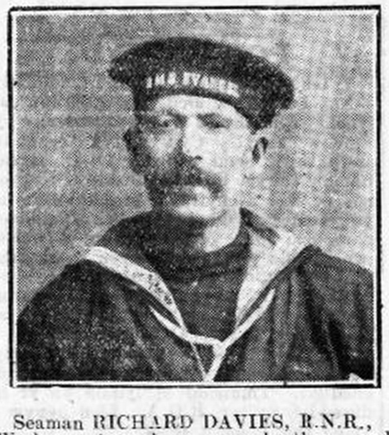 Local Borth seaman, Richard Davies, of the Royal Naval Reserve, was one of the trawler crewmen who crossed to the VAN STIRUM