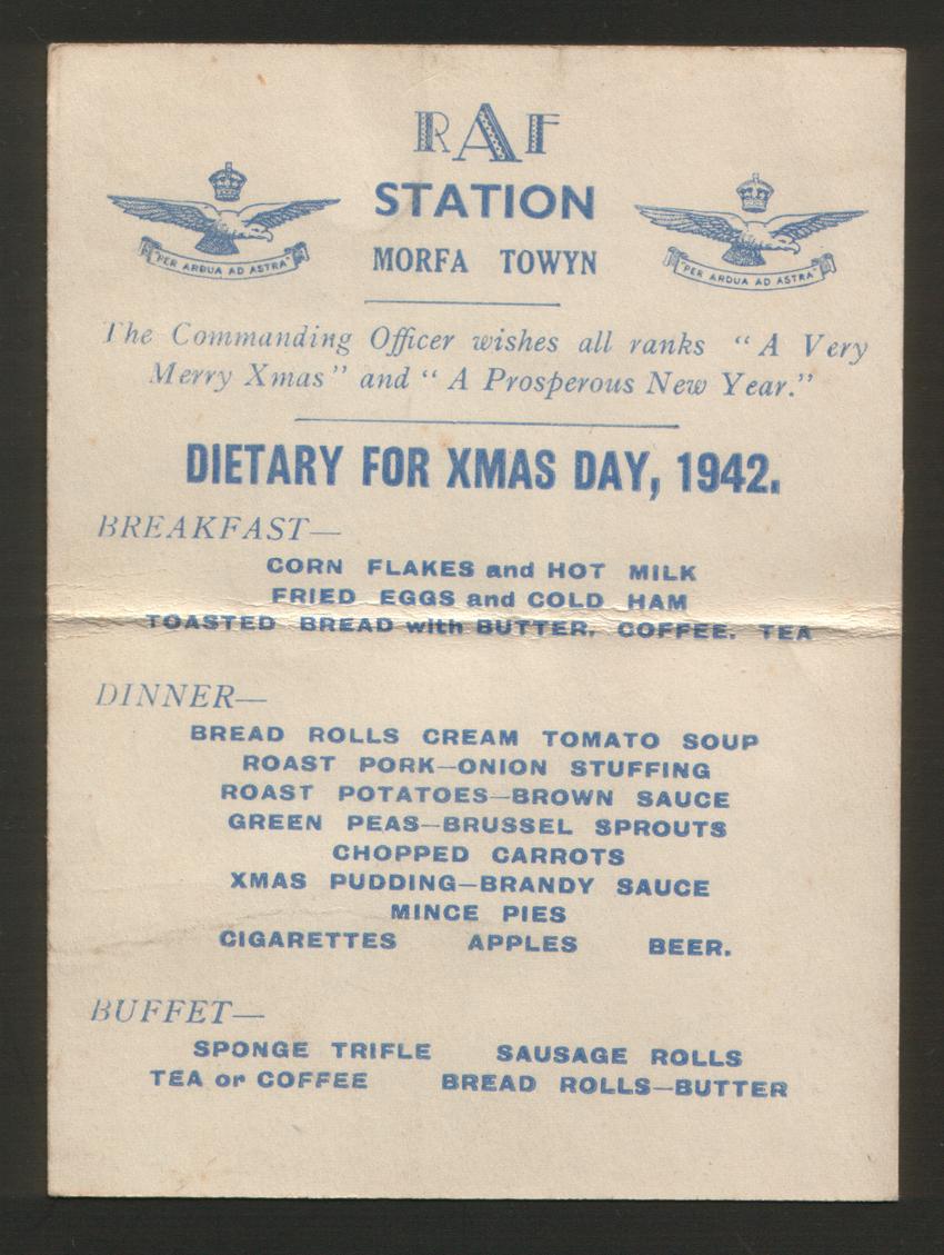 1942 Christmas Day Menu from RAF Station Morfa, Towyn