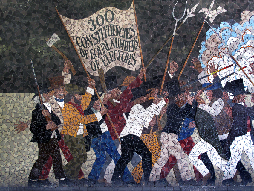 The Newport Chartist Uprising of 1839 as depicted by Kenneth Budd in a mural in John Frost Square, Newport