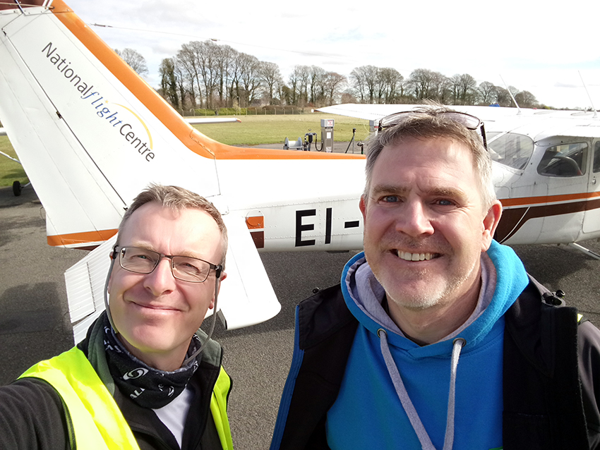 10. Toby and Robert at the National Flight Centre, ready for take-off.