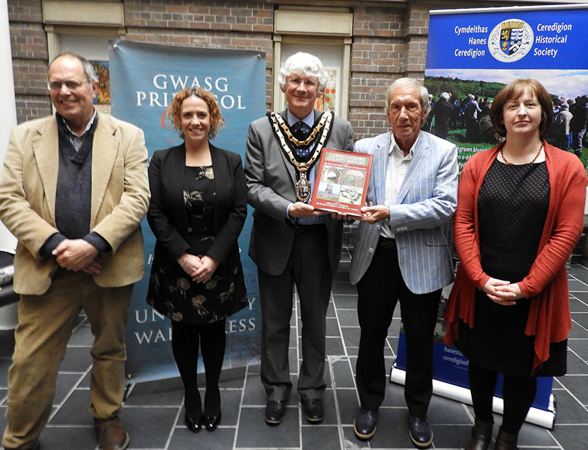 Left to right: Richard Suggett, Natalie Williams (University of Wales Press), Peter Davies (Chair of Ceredigion County Council), Geraint H. Jenkins and Eryn M. White