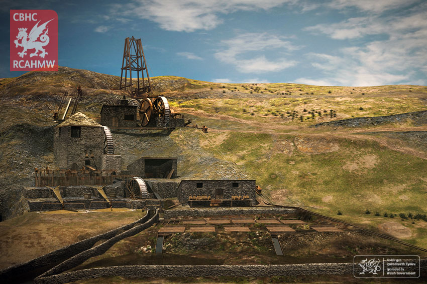 Computer animation still from a reconstruction of Ystrad Einion Metal Mine Ref. RCANI_18_01 C.641005 NPRN: 33908