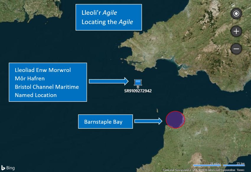 Map showing roughly where the AGILE collided; quite a way away from its Maritime Named Location site and not in Welsh waters! Source gridreferencefinder.com